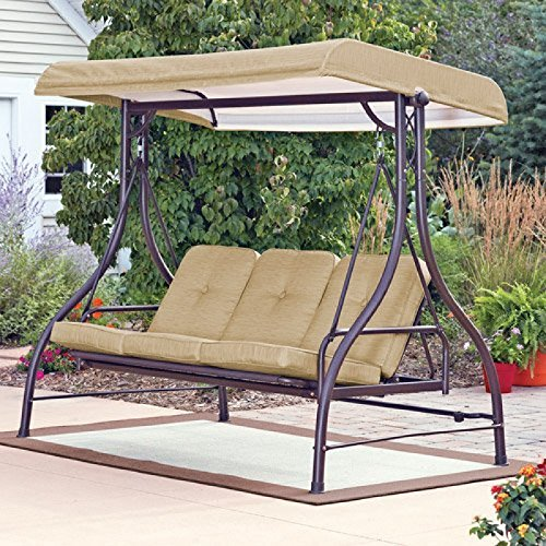 Patio Swing Lawson Ridge 3-Person Swing/Hammock, Tan Mainstay