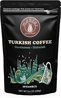 Mahlas Gourmet Turkish Coffee - Premium Quality - Traditional Roasted and Ground Coffee - Ground At Natural Stone Mills (Cardamom)