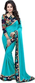 RJB women's Georgette saree with blouse piece(Multi-colored_free size) (A-Sky blue)