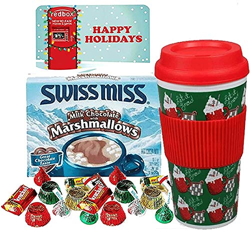 Kids Redbox Movie Night Christmas Themed Hot Chocolate Keepsake Tumbler Gift Set. Pre Filled, Pre Wrapped & Ready For Giving.