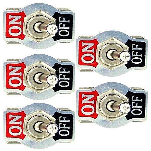 Mintice™ 5 X Interrupteur Inverseur à Bascule Levier en Métal ON/OFF 2 Terminal Pin SPST Poids Lourd 20A 125V 15A 250V Voiture Moto