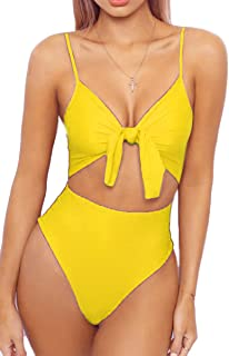 LEISUP Womens Spaghetti Strap Tie Knot Front Cutout High Cut One Piece Swimsuit