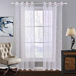 SIMPVALE Cortinas Bordado Translucida Moderno Ventana Visillos con Ojales para Dormitorio Salon Sala Balcón,1 Panel, 1# Blanco, Ancho 140cm / Altura 240cm
