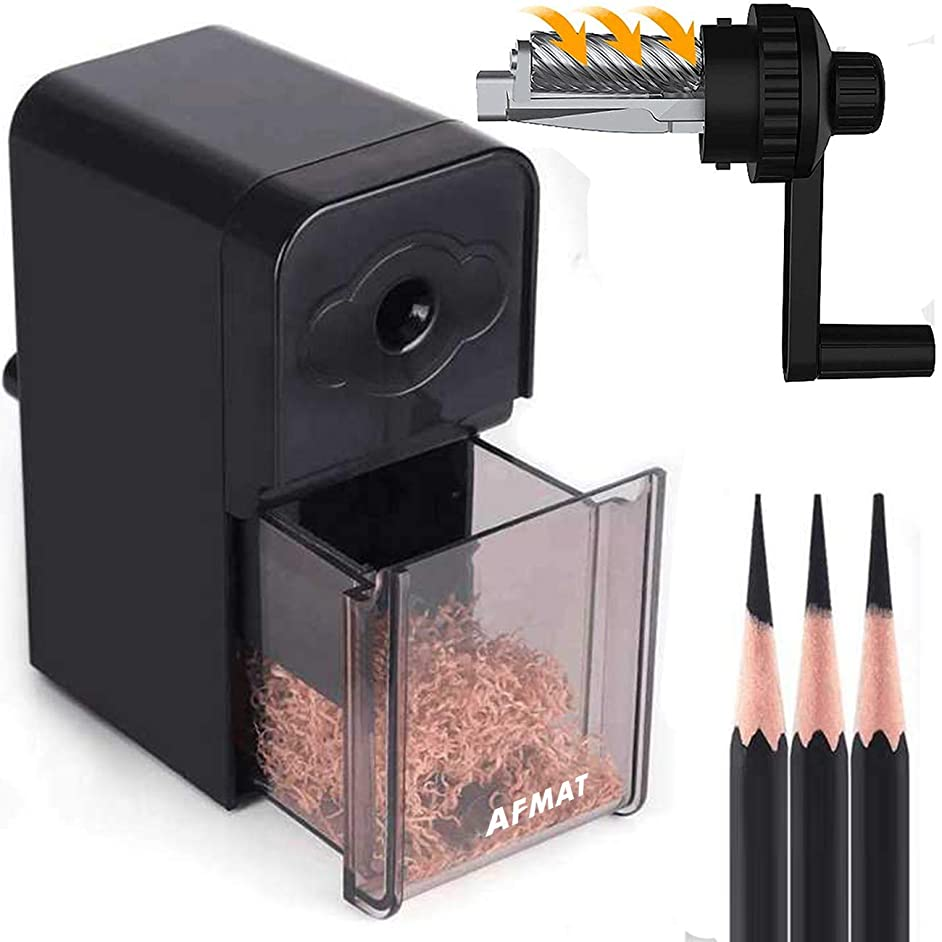Long Point Pencil Sharpener, Artist Pencil Sharpener, AFMAT Art Drawing Pencil Sharpener for 6-8.2mm Sketching/Charcoal/Colored/Graphite Prismacolor Pencils with Sandpaper, Replacement Blade Included