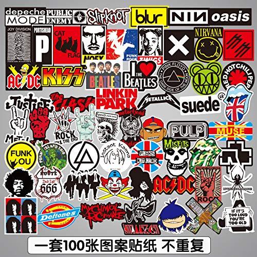 Europese en Amerikaanse Retro Rock Band Stickers Persoonlijkheid Getij Merk Elektrische Gitaar Stickers Waterdichte Bagage Stickers 100
