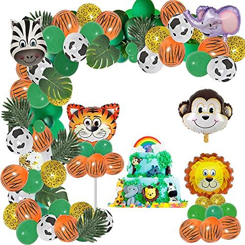 125 Decoracion Selva Cumpleaños, fiesta cumpleaños infantil, decoración de cumpleaños, decoración de cumpleaños para niños, hojas de palma, globos de animales, confeti, baby shower niño Decoración