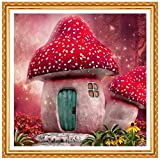 Tpqoaa - DIY 5D Pintura Diamante Kits Completos,diamantes de imitación, bordado, punto de cruz, manualidades lienzo decoración de pared(Casa Seta Roja 30X40)