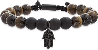 Steve Madden Stainless Steel Brown Beaded Crystal Hasma Adjustable Bracelet for Men (Light Brown)