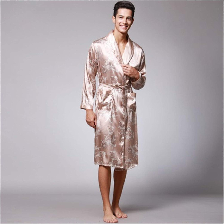 Spring Autumn Men's Bathrobes Printed Male Pajamas Full Sleeves Nightwear Sleepwear Satin Silk Robe Pyjama Belt Men Robe (Color : Camel, Size : XL)