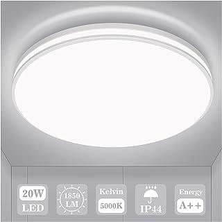 Plafonnier LED 20w, Öuesen Luminaire Plafonnier 1850lm Blanc Froid 5000k Éclairage de Plafond Étanche IP44 Plafonnier Cham...