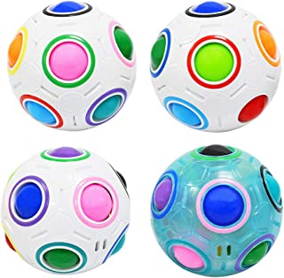 Coolzon Magic Rainbow Puzzle Ball Speed Cube Ball Toy Brain Teaser, Puzzle Cube Balls Puzzle Brain Games Toys for Kids, Set of 4 Pack