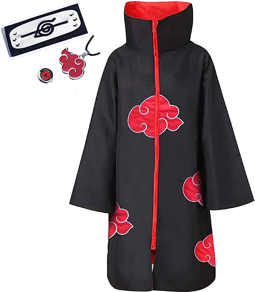 Naruto Akatsuki Cloak Itachi Uchiha Costume Uniform Cosplay Anime Long Robe for Unisex
