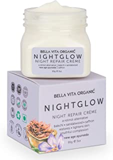 Bella Vita Organic Night Glow Face Cream For Skin Repair, Hydration, Anti Ageing & Dryness Control With Saffron, Babchi, S...