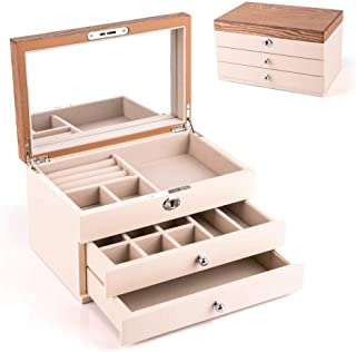 HEZALA Wooden Jewelry Box, Vintage Jewelry Box Storage Case with Large Mirror for Necklaces, Bracelets, Earrings, Beige