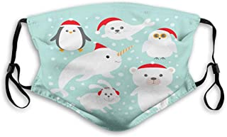 Poles of The Earth Fauna Sketch with Abstract Snow Patterned Background Reusable Face Mask Balaclava Outdoor Nose Mouth Co...