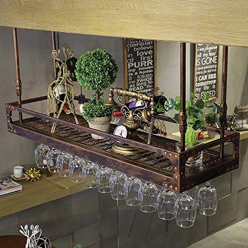 Wmju Weinregal Weinbecherhalter Suspension Retro Weinregale Bar Cup Holder Weinbecherhalter Becher Rahmen Hängender Glashalter (Farbe : A, größe : 80 * 35cm)