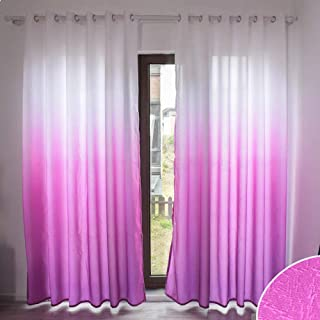 WUBODTI Gradient Window Blackout Curtain Panel, Room Darkening Thermal Insulated Grommet Drapes 106 Inches Length Pink Purple Ombre Cotton Linen Window Treatments for Kid Bedroom,Living Room,1 Panel