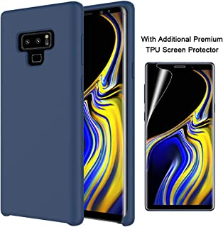 Orzero Liquid Silicone Gel Rubber Case Compatible for Samsung Galaxy Note 9 2018 Full Body with Additional Premium TPU Screen Protector Shock Absorbing Ultra Slim Protective (Baby Skin Touch)-Navy
