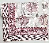 Indischer Handblock Boho Blockdruck Kantha Quilt Bettwäsche Bohemian Baumwolle Decke Handgefertigte Tagesdecke Handblock Druck 100% Baumwolle Tagesdecke Decke Überwurf (weiß & rot, 152,4 x 228,6 cm)