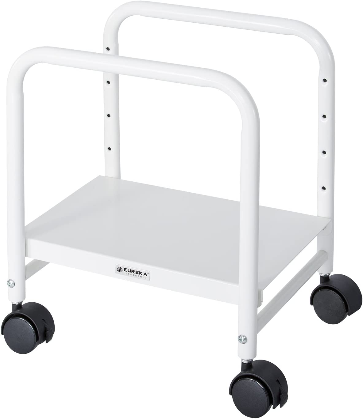 EUREKA ERGONOMIC Computer Cart, Height-Adjustable Mobile CPU Stand Suitable for Sit Stand Desk Converters, White