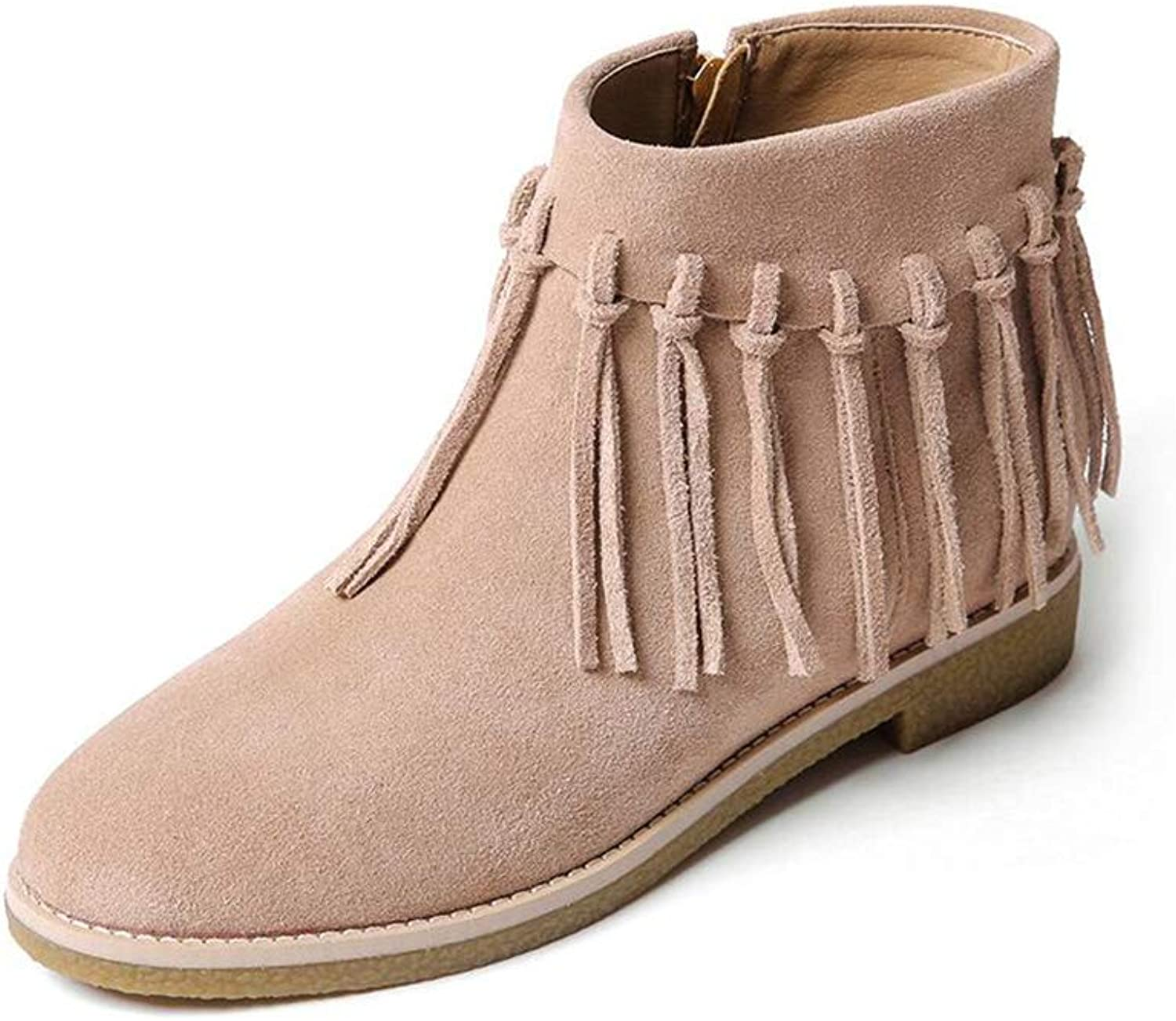 Xiaolin Women's Fringe High Top Ankle Booties High Heel Western Cowboy Boot Booties Martin Boots (color   A, Size   US5 EU35 UK3 CN34)