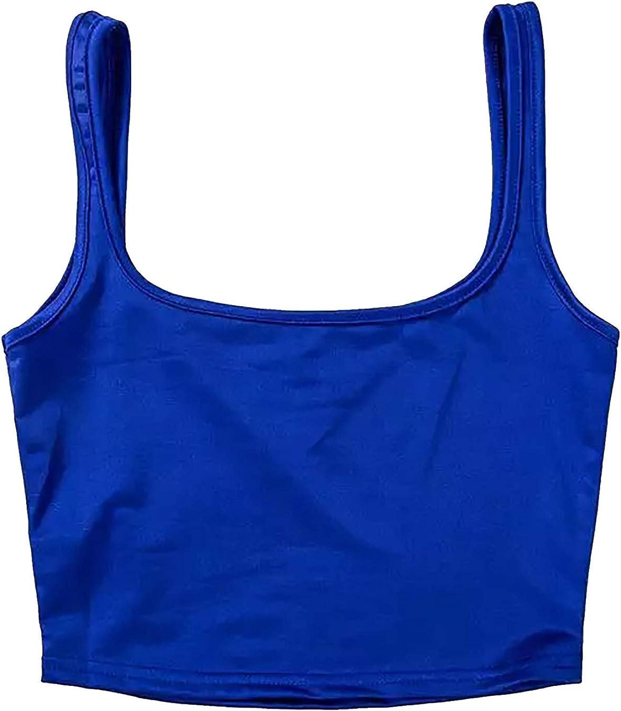 Crop Tops for Rapid rise Women U-Neck Camisole Tan Top Slim Yoga Superlatite Short Vest