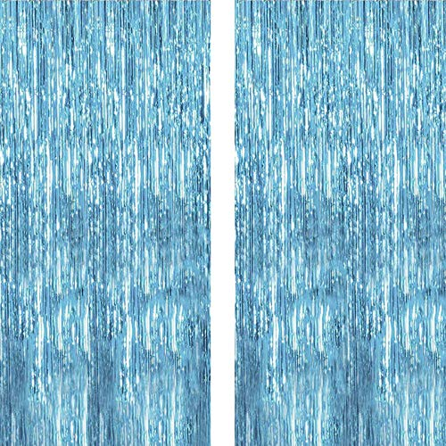 Twinkle Star 2 Pack Photo Booth Backdrop Foil Curtain Tinsel Backdrop Environmental Background for Birthday Party, Wedding, Graduation, Christmas Decorations (Light Blue)