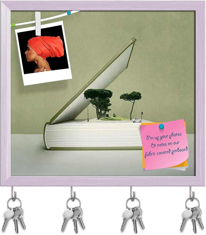 Artzfolio Artistic Fantasy Open Book Key Holder Hooks   Notice Pin Board   White Frame 17.8 X 16Inch