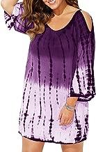 Ybenlow Womens Plus Size Swimwear Cover Ups Cold Shoulder Tie Dye Baggy Swimsuit Beach Dress T-Shirt