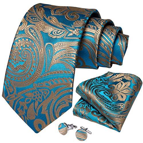 WOXHY Cravate Homme Bleu Turquoise Or Paisley qualité Soie Mariage Mariage Cravate Boutons de Manchette Hanky Cadeau d'affaires Cravate Set Design
