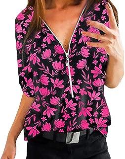 QueenMM 🍀Women's Short Sleeve Zipper V-Neck Block Stripe T-Shirt Casual Blouse