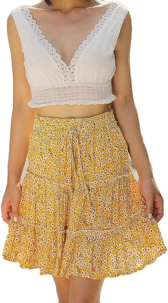 Skirts for Women Bohemian Vintage Floral Printed Ruffle Hem Summer Casual Sun Dress