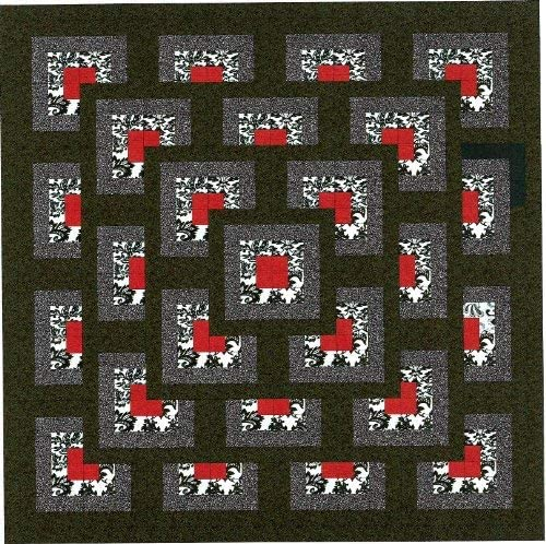 Easy Quilt Max 88% OFF Kit Boxed Maze Red to Wholesale Se Black White Precut Ready