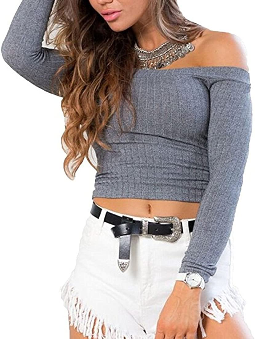 Womens Off Shoulder Shirt Crop Tops Long Sleeve Blouse Jumper Vest Cami Tank Top