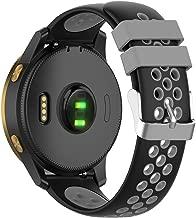 Disscool Dual Colors Replacement Wrist Bands for Garmin Venu,20mm Width Soft Silicone Wrist Strap for Garmin Venu(Silicone Black + Gray)