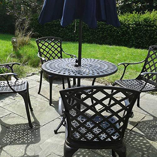 Lazy Susan MIA 90cm Round 4 Seater Sand-cast Aluminium Garden Furniture Set, Weatherproof, Maintenance Free, Compact Design, Antique Bronze Finish, Matching EMMA Chairs, Blue Cushions