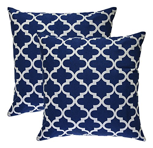 TreeWool - Pack de 2 - diseño de celosía Trellis Acento Decorativo Fundas de cojín, 100% algodón (40 x 40 cm / 16 x 16 Pulgadas, Azul Marino)