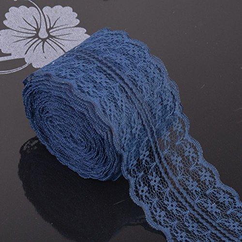 Rollo de encaje floral vintage de 10 metros para novia, boda, encaje para decoración, manualidades, vestido de boda azul marino