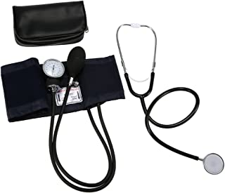 Decdeal Aneroid Sphygmomanometer Cuff Kit Upper Arm Blood Pressure Stethoscope With Zipper Bag for Adult