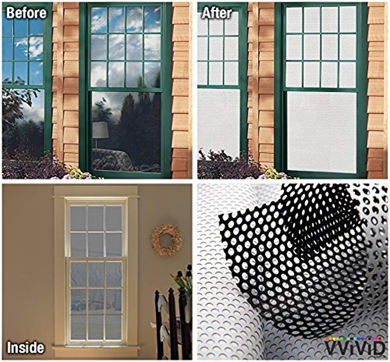 VViViD White Perforated Vinyl Window Film To Prevent Bird Strike 54 Inches X 120 Inches Bulk Roll