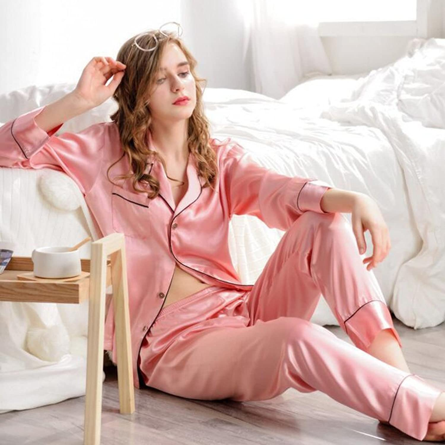 GJM Shop Spring and Summer Ms Solid color Polyester Pajamas Thin Section Bathrobe Tops + Trousers TwoPiece (color   4, Size   L)