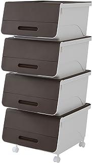 サンカ 【日本製】 収納ボックス ふた付き 4個組 レギュラー 浅型 froq (フロック) キャスター付き 積み重ねOK オープン時ふた固定可能 幅38.5×奥行46×高さ24cm 完成品 サンドブラウン FR-23SBR*4+C