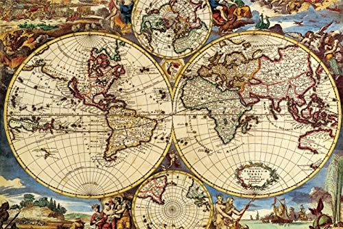 Ingooood - Jigsaw Puzzle 1000 Pieces- World Map-IG-0507- Entertainment Recyclable Materials Plastic Puzzles Toy