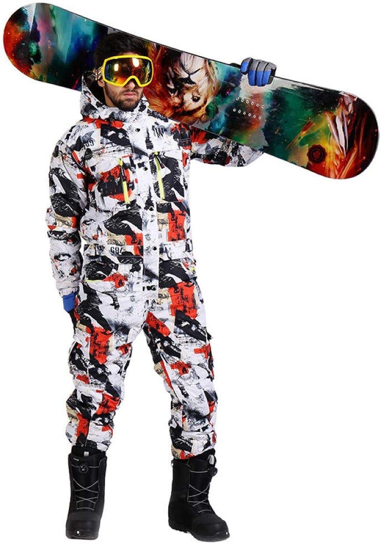 Zjsjacket ski Suit Winter ski Suit Men one Piece Snow Jumpsuit Waterproof Thick Warm Snowboard Jacket Snowboarding Pants Mountain Skiing