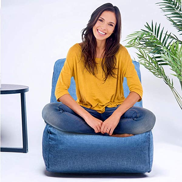 BEIZ PENZ Foam Lounger Bean Bag Chair Floor Chair Couch Lazy Lounger Huge Memory Foam Furniture Bag And Large Lounger Big Sofa With Soft Fiber Cover For Adults Kids Blue