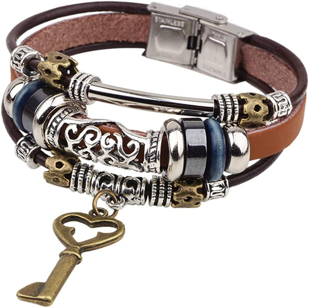 SMALLLOVE Bohemian Leather Bracelets for Men and Women Vintage Punk Alloy Butterfly Key Adjustable Beaded Wrap Multilayer Braided Cuff Bangles Wristband Wrist Decor Bracelet