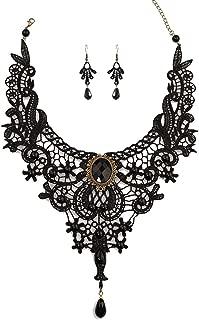 Black Lace Gothic Lolita Pendant Choker Necklace Wedding Halloween Accessories