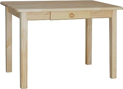 Table à manger Koma avec tiroir Table de cuisine Table repas Table en pin massif Restaurant (70 x 100 cm)