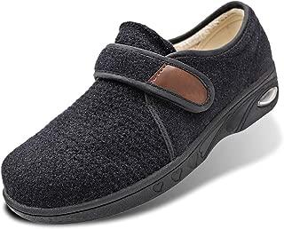 Women's Diabetic Winter Shoes Edema Walking Sneakers Warm Plush Fleece Lining Adjustable Touch Close Strap Lightweight Air Cushion for Elderly, Swollen Feet, Swelling