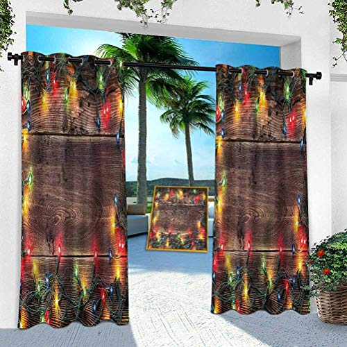 Aishare Store Indoor Outdoor Curtains, Christmas,Festive Countryside, 52' x 108' Patio Light Block Wind Keep Out Curtain for Front Porch/Garden(1 Panel)